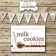 Milk & Cookies Personalized Birthday Party by designingforpeanuts, $35.00
