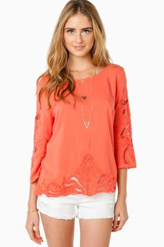 ShopSosie Style : Lover's Call Blouse in Coral