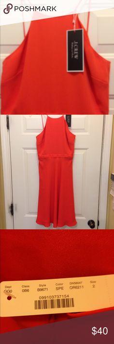 Orange JCrew halter dress Beautiful orange J Crew halter dress. Gorgeous dress that flatters your figure! J Crew Dresses Midi