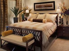 Master Bedroom Decorating Ideas | Neutral Brown Master Bedroom With Flowers and Wood Accents