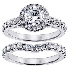 Platinum 2 1/3ct TDW Prong Set Brilliant Cut Large Diamond Encrusted Engagement Bridal Set (G-H, SI1-SI2) (Platinum - Size 6.5), Women's, White