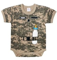 Infant Baby One Piece Onesie Soldier Strapped w Bottle ACU Camo 0 3T | eBay