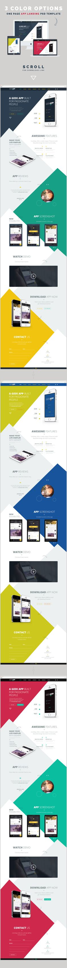 GeekApp - One Page App Landing PSD Template by webduck, via Behance