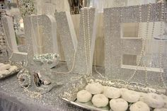 Diamonds ARE a Bride's Best Friend! Diamond and pearl dessert table set-up perfect for any wedding ARE a Bride's Best Friend! Diamond and pearl dessert table set-up perfect for any wedding. Diamond Wedding Theme, Diamond Theme, Diamond Party, Bling Wedding, Pearl Bridal Shower, Pearl Baby Shower, Pearl Party, Pearl Themed Party, 30th Anniversary Parties