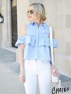 #Fresh summer top #Light Blue Cold Shoulder Ruffle Detail Shirt $20.90