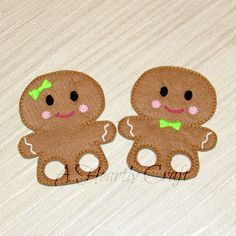 Christmas Gingerbread GIRL or BOY Finger Puppet Walker for busy bags, quiet books, book companions, Birthday party Favor, Stocking Stuffer