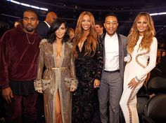 LOS ANGELES, CA - FEBRUARY 08: Kanye West, Kim Kardashian West, Beyonce, John Legend and Chrissy Teigen attend The 57th Annual GRAMMY Awards at STAPLES Center on February 8, 2015 in Los Angeles, California. (Photo by Kevin Mazur/WireImage)