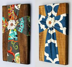 Cute fabric and wood cross