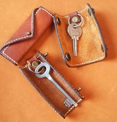 Genuine leather mini key holder with 1 by SaurasLeathercraft