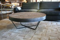 Reclaimed Wood Round Coffee Table Patchwork Design by CroftHouseLA