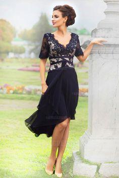 A-Line/Princess V-neck Knee-length High Low Hem Chiffon Lace Evening Dress