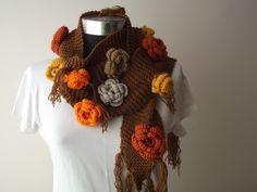 Hand Knit Women Scarf  Long Warm Scarf With Crochet par nilsmake, $35.00