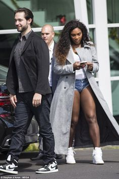 Loved-up: Serena Williams, 35, stepped out in style with her new fiance Alexis Ohanian as ...