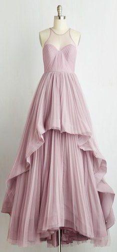 Beautiful Long Prom Dress, A-Line Prom Dress,Pleat Evening Dress