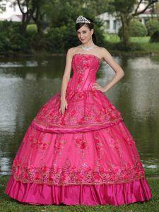 Stunning Strapless Beaded Taffeta Sweet 16 Dress with Hand Made Flowers