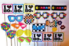 22 Piece I Love The 80s Photobooth Props - Totally Tubular 80's - Photo Booth - I Heart The 80s - Glasses - Rubik's Cube - Lips - Pac Man