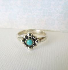 Turquoise Blue Stacking Sterling Silver Ring- US Size 7. $25.00, via Etsy. #vintage #turquoise #ring #rings #sterling #silver #jewelry