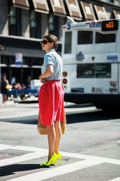 chambray + red skirt + pop of neon