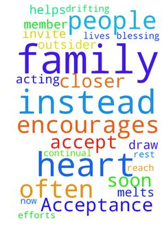 Acceptance from Family -   Pray the people on my heart soon accept me as a member of their family instead of acting like I'm some weird outsider. Pray God encourages them to invite me to spend time with them more often. Pray God melts their hearts and helps them appreciate all the efforts I have made to reach out to them. Pray we draw closer together as a family instead of just drifting apart like we're doing now. Pray we all can be a continual blessing to each other for the rest of our…