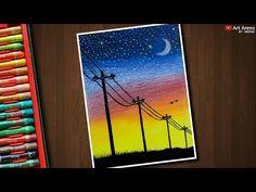 Electric Wire Line Sunset Landscape Drawing with Oil Pastels – step by step Electric Wire Line Sunset Landscape Drawing with Oil Pastels – step by. Oil Pastel Drawings Easy, Oil Pastel Paintings, Oil Pastel Art, Oil Pastels, Drawing With Pastels, Horse Paintings, Oil Pastel Landscape, Sunset Landscape, Landscape Art