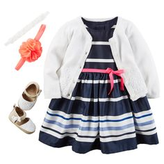 A classic girls Easter dress in navy and white. Pair with a pointelle cardigan and espadrille shoes. Get her ready for the hunt! Find this look and more at carters.com