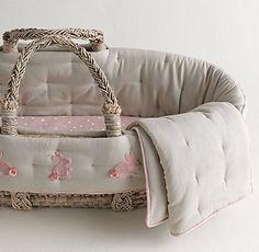 Appliquéd Velvet Bunny Moses Basket Bedding