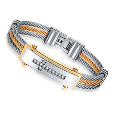 [Visit to Buy] ERLUER Men's Bracelet 3 Rows Wire Chain Bracelets Bangles Fashion Punk Stainless Steel Cross Bracelet Men Christian Men Jewelry Bracelets For Men, Bangle Bracelets, Bangles, Cross Bracelets, Charm Armband, Monitor, Led Stripes, Stainless Steel Jewelry, Congo