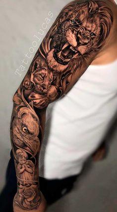 Half Sleeve Tattoos Designs, Forearm Sleeve Tattoos, Best Sleeve Tattoos, Tattoo Designs, Tattoos Masculinas, Body Art Tattoos, Cool Little Tattoos, Animal Sleeve Tattoo, Sak Yant Tattoo
