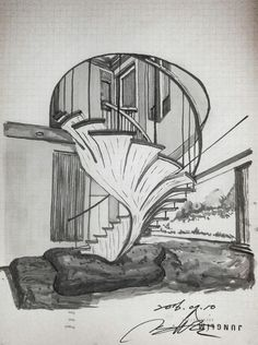 Staircase drawing - pentel color brush