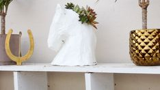 DIY paper mache horse head succulent holder