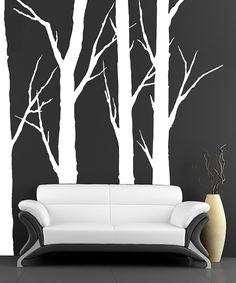 White Tree Decals Flying Birds Wall Sticker Family Tree Wall Vinyl - Bambi love tree wall decals