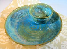 Chip and Dip Bowl, Blue Green Pottery Serving Bowl, Entertaining, Stoneware Pottery Bowl, Colorful Pottery