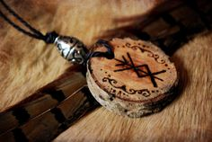 Bindrune Viking Wood Pendant by Neirahda on Etsy, €13.00