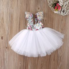 White Floral tutu dress cake smash outfit baby girl first easter birthday dress newborn photos birthday gift baby shower gifts sizes 3months -5t
