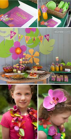 Summer birthday party themes for kids:  Host a summer luau. | Printables and decor from Elinée