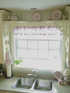 kitchen with purple toile and transferware