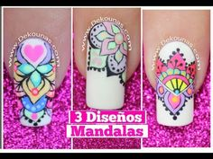 3 Diseños de uñas de mandalas - Mandalas Nail art tutorial - YouTube Perfect Nails, Nail Arts, Diy And Crafts, Nail Designs, Hair Beauty, Diana Diaz, Manicures, Youtube, Beautiful