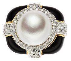 Mabe Pearl, Diamond, Enamel, Gold Ring.