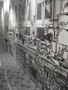 White Walls Artistically Transformed with Black Markers - My Modern Metropolis