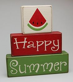 New Happy Summer Watermelon - Flower - Pineapple - Primitive Country Distressed Wood Stacking Sign Blocks Seasonal Holiday Summer Spring Home Decor online shopping - Weoffertopseller 2x4 Crafts, Wood Block Crafts, Wood Blocks, Jenga Blocks, Wood Projects, Watermelon Flower, Watermelon Crafts, Watermelon Ideas, Home Decor Online Shopping