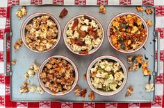 Six Exceptional Popcorn Toppings - inlcuding Citrusy Chile-Chocolate Popcorn; Creamy Coconut Caramel Corn; Savory Kimchi-Nori Popcorn; Maple-Bacon Popcorn; Mexican Corn-on-the-Cob Popcorn; and Classic Caramel Corn!