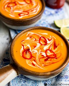 Make one of these easy pumpkin soup recipes to warm up even the coldest day. Whether you go with the traditional fall flavor or swap it out with another squash, it's incredibly easy to make pumpkin soup. Detox Recipes, Soup Recipes, Vegetarian Recipes, Cooking Recipes, Healthy Recipes, Vegan Meals, Recipes Dinner, Fall Recipes, Yummy Recipes