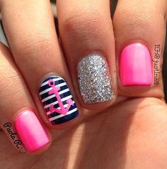 Navy nails by @justnail