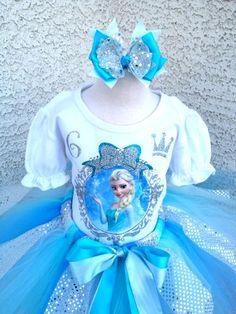 *Girls Elsa Frozen Inspired Simple Heat Pressed Number Birthday Quick Ship Tutu Set