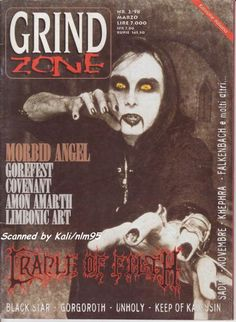 Black Metal, Heavy Metal, Dani Filth, Cradle Of Filth, Cover Photos, Magazines, March, Italy, Music