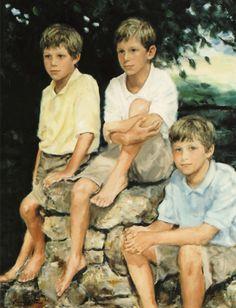 Group portrait in oil
