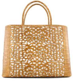 NANCY GONZALEZ  Gold Lace Motif Croc Handbag