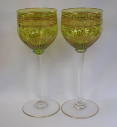 Pair, Crystal Stemmed Wine Glasses  , Vintage 1920's from Vignette Exclusively on Ruby Lane