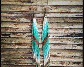Turquoise Earrings Beaded Earrings Tribal by WildHoneyPieDesign