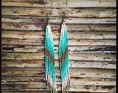 Long Earrings, Long Seed Bead Earrings, Native American Inspired, Tribal,  Boho Fashion, Bohemian, Free People, accessories, gypsy, hippie